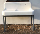 Antique Koehler CastIron Porcelain HighBack Farmhouse Sink W/Drain Board,on Legs