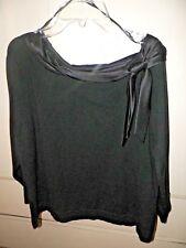 Emma James Top, Size XL Petite, Black knit with 74% silk/acrylic neckline.