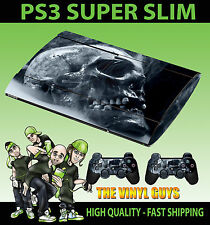 PLAYSTATION PS3 SUPER SLIM SMOKEY SKULL DARK GOTHIC SKIN STICKER & 2 PAD SKIN