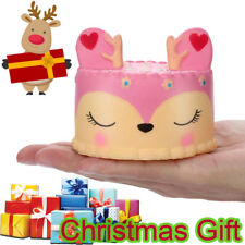 Adorable Squishies Christmas Pink Deer Cake Slow Rising Fruit Scented Gift Toy