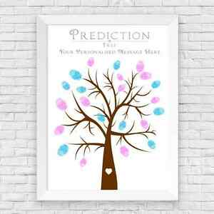 A5 PERSONALISED BABY SHOWER FINGER PRINT TREE PREDICTION CARDS ALTERNATIVE, GAME