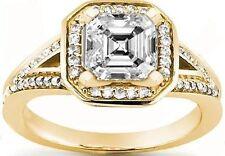 1.01 ct center Asscher cut Diamond Halo Engagement Ring 14k Yellow Gold 1.62 tcw