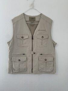 LL Bean Mens Size XL Tan Zip Fishing Vest Pockets Vented Back Cotton O HVL9