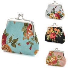 Flower Women Small Coin Wallet Change Purse Hasp Canvas Clutch Small Wallet Bags