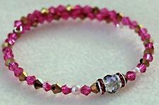 NEW Handmade Pink/Gold Crystal / Czech Glass beads Wire wrap Bracelet.  ap3085