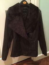 BNWT Ladies Waterfall Fur Trim Faux Leather Jacket Chocolate Brown New Look Sz 8
