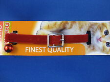 Cat Collar - Red Velvet with Red Safety Elastic and matching Red Bell