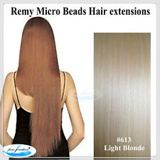 "24""India Remy Micro Beads Hair extensions 100pcs #613 Light Blonde  DOUBLE DRAWN"