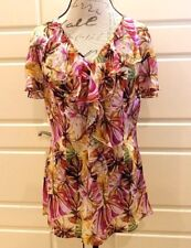 Lafayette 148 - Silk ruffled top in floral print - Size 10