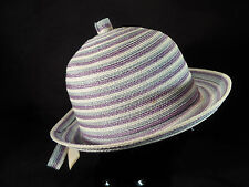 "Vintage Mam'Selle Womens Hat - Purple, Lt Blue, White Stripes - 21.5"" - Cute!"