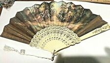"Large Vintage Folding Plastic Hand Fan W/ Scenes 2 Sided Beautiful 9x17"" w/Tag"