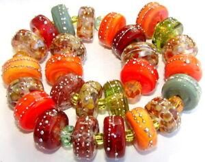 "Sistersbeads ""D-Autumn Leaves"" Handmade Lampwork Beads"