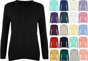 Women's Cable Knit Long Sleeve Top Ladies Jumper Sweater UK Size 16-26