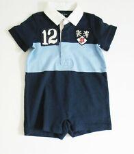 Polo Ralph Lauren Baby Boys Jersey Rugby Shortall Collin Blue Multi Sz 3M - NWT