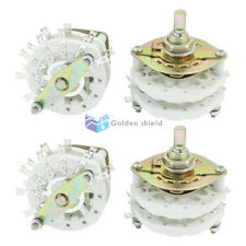4pcs KCT2X6 10mm Mounting Hole Dia 2P6T 2 Deck 14Pins Band Channel Rotary Switch