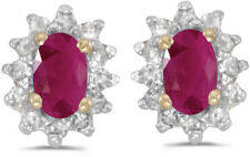14k Yellow Gold Oval Ruby And Diamond Earrings (CM-E6410X-07)