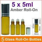 5 x 5ml Amber Roll - On essential oil Aromatherapy Glass Bottle Handy Perfume