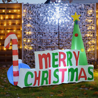 Lighted LED Inflatable MERRY CHRISTMAS Decoration Holiday Outdoor Tree Stick