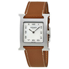 Hermes H Hour White Dial Brown Leather Ladies Watch 036791WW00