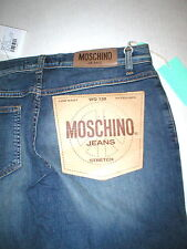 New Womens Designer Moschino Blue Dark  Jeans Logo Stretch NWT Distressed Hems