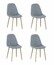 New ListingLinen Fabric Dining Chairs with Metal Legs Set of 4 for Living Room Kitchen