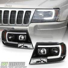 Blk 1999-2004 Jeep Grand Cherokee OPTIC LED Tube Projector Headlights Headlamps