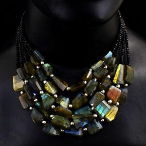 683 Cts Natural 5 Strand Spinel & Labradorite Beads Necklace Jewelry JK 24E294