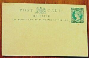 Gibraltar rare QV Halfpenny Postal Stationery Card, very fine mint
