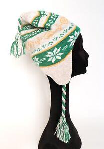 Peruvian Style Hat - Wool Beanie - Fair Isle Beige / Green / Yellow - Small