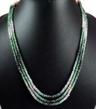 3 Strands Faceted Beads Emerald Gemstone Strings Necklace Precious Beaded Stones