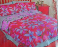 ~ FLOWER FLORAL PATTERN REVERSABLE QUEEN BED DOONA QUILT COVER