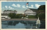 New London CT Duck Pond Ocean Beach c1920 Postcard