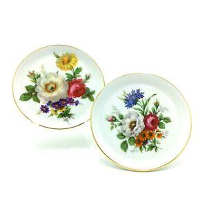 2 Fürstenberg Porcelain Butter Pads or Pin Dishes West Germany Floral Bouquet