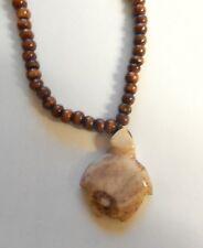 "Necklace & pendant-jasper turtle-brown  beads-18"" long"