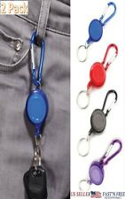 2 Pack Retractable Reel Recoil ID Badge Holder & Keychain with Carabiner Clip