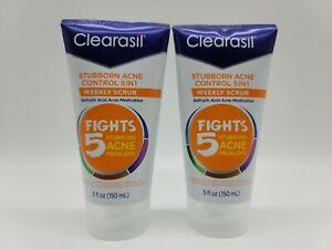 Clearasil Stubborn Acne Control 5in1 Weekly Scrub Salicylic Acid 5 oz (2 Pack)