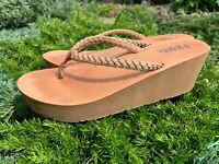 Women's Flip-Flop thong sandal Wedge shoes size 8 US Hayley Flojos tan camel