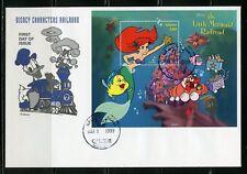 Guyana Disney The Little Mermaid Railroad 1999 Souvenir Sheet Ii Fdc