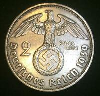 Rare WW2 German 2 Reichsmark SILVER Coin Historical WW2 Authentic Artifact