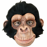 Adult Mens Brown Chimp Chimpanzee Monkey Ape Halloween Costume Furry Full Mask