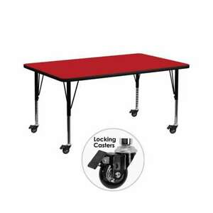 Flash Furniture  Activity Table - XU-A3072-REC-RED-H-P-CAS-GG