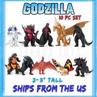 "Godzilla Toys: 10 pcs (2"" - 3.5""): Mechagodzilla, Mothra, Ghidorah, Rodan + more"