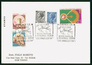MayfairStamps Italy 1983 Los Angeles Baseball Cover wwp80229