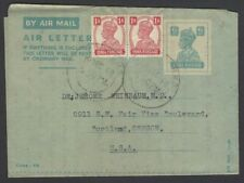 India King George VI 6a blue airletter uprated 1a x 2 used 1948 to USA HG #FG3