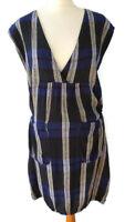 Masai Size L 14 16 Black White Blue Sleeveless Dress Pockets Linen Blend Summer
