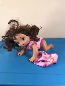 Baby Alive Baby Go Bye Bye, She Crawls, Talks, Brown Hair Hazel Extra Outfit!