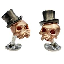 Deakin and Francis Sterling Silver Skull Top Hat Cufflinks Rose Gold Plated