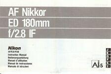 Instruction User's Manual Nikon AF Nikkor ED 180mm f/2.8 IF Multilingual