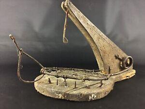 Rare très ancien XIXème piège à tapette clouée - cabinet de curiosités -