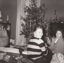 Antique Vintage Photograph Two Young Girls Christmas Tree & Retro Television Set